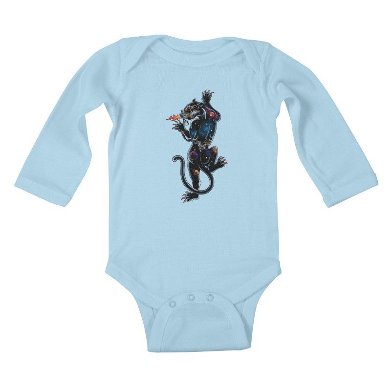 Space Panther Kids Baby Longsleeve Bodysuit by kooky love's Artist Shop
