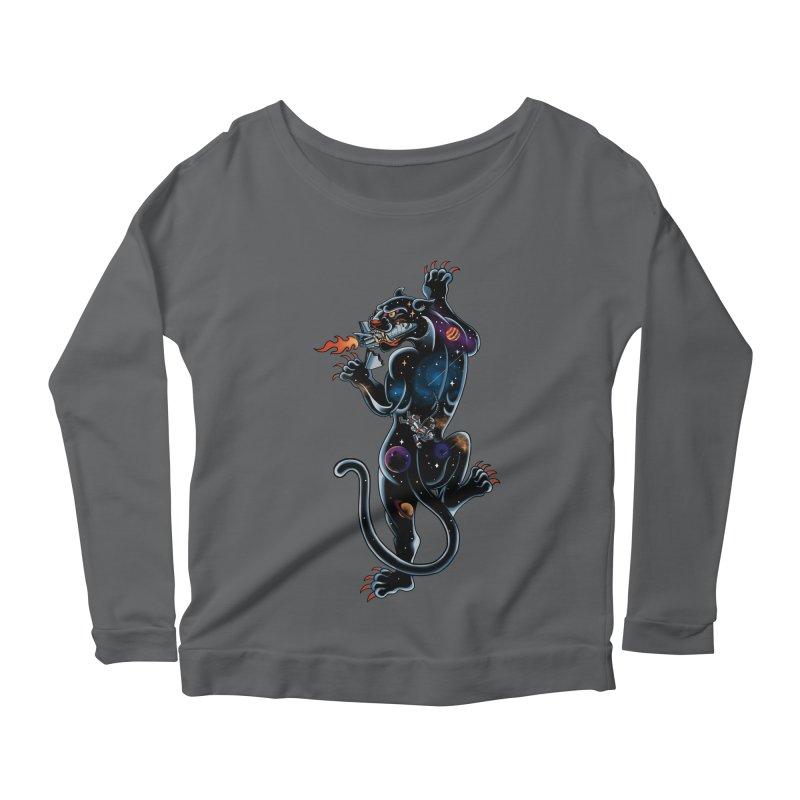 Space Panther Women's Scoop Neck Longsleeve T-Shirt by kooky love's Artist Shop