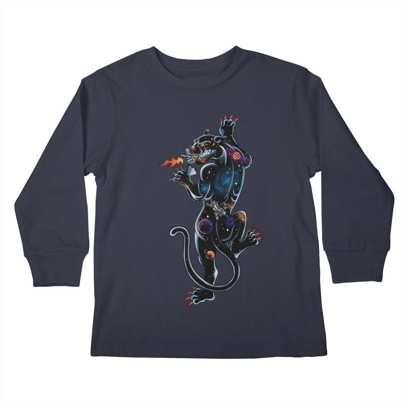 Space Panther Kids Longsleeve T-Shirt by kooky love's Artist Shop