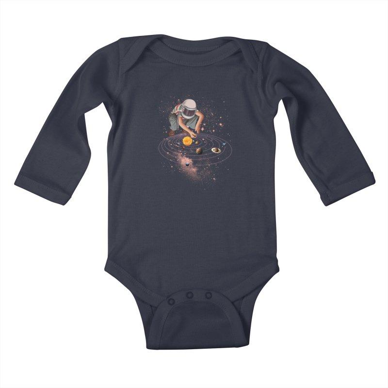 Marble Planet Kids Baby Longsleeve Bodysuit by kooky love's Artist Shop