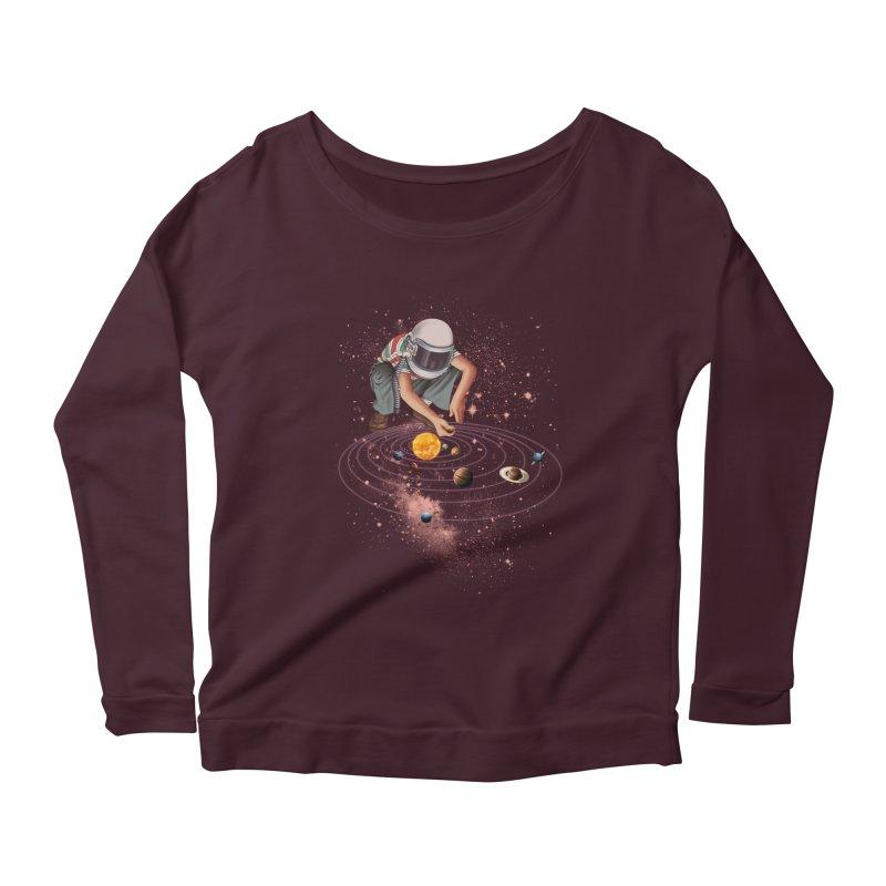 Marble Planet Women's Scoop Neck Longsleeve T-Shirt by kooky love's Artist Shop