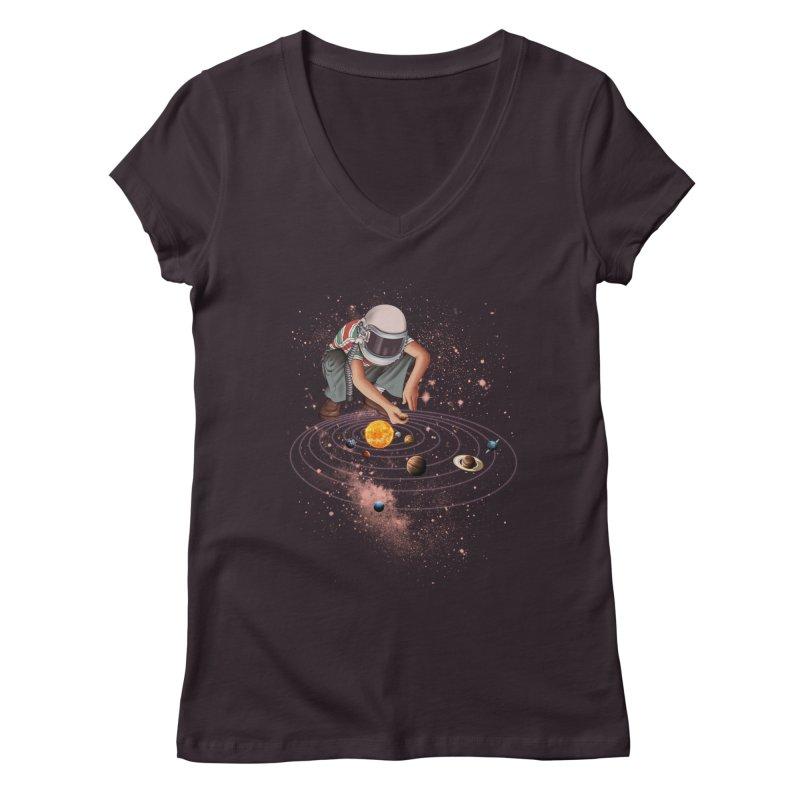 Marble Planet Women's V-Neck by kooky love's Artist Shop