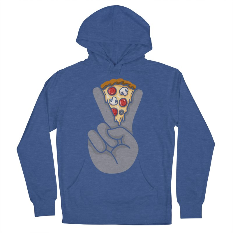 Peace & Pizza Men's French Terry Pullover Hoody by kooky love's Artist Shop
