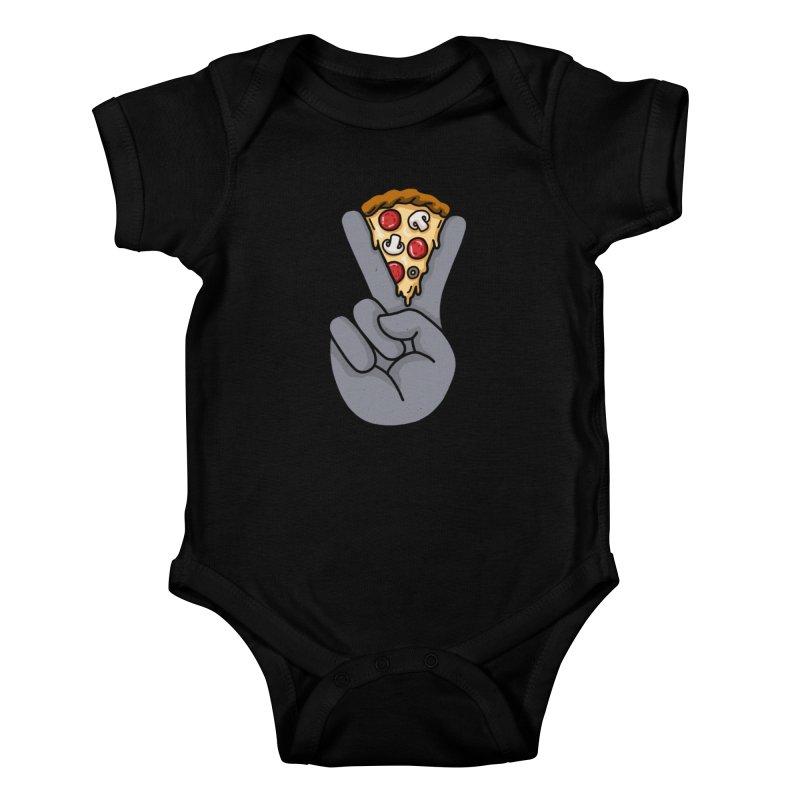 Peace & Pizza Kids Baby Bodysuit by kooky love's Artist Shop
