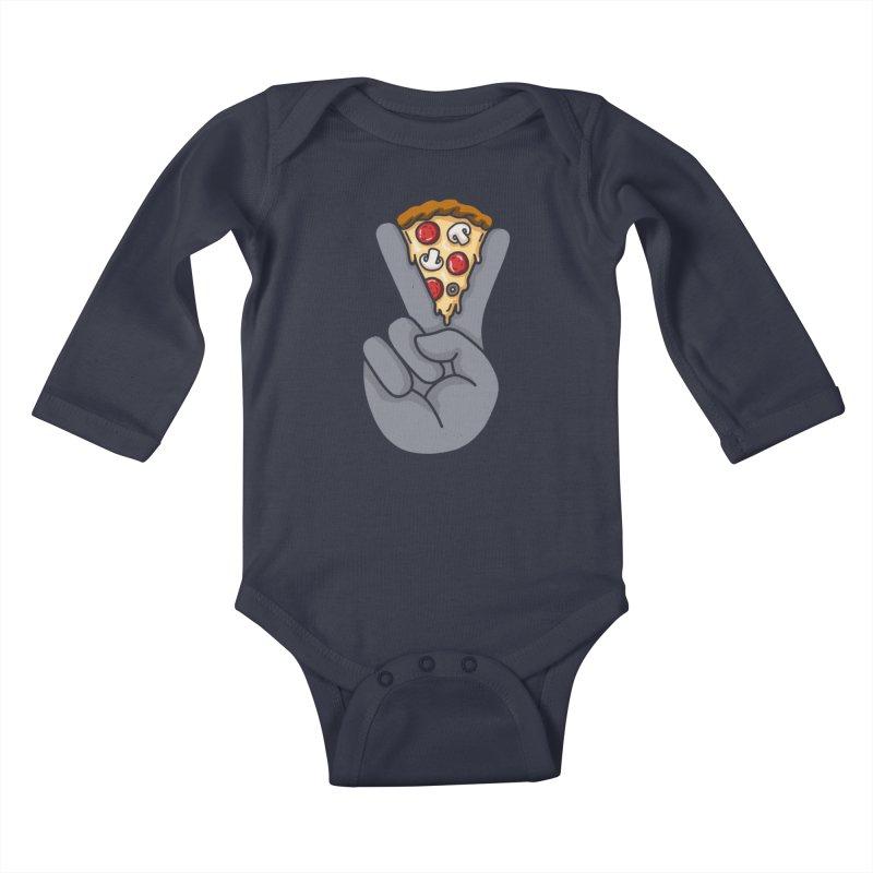 Peace & Pizza Kids Baby Longsleeve Bodysuit by kooky love's Artist Shop
