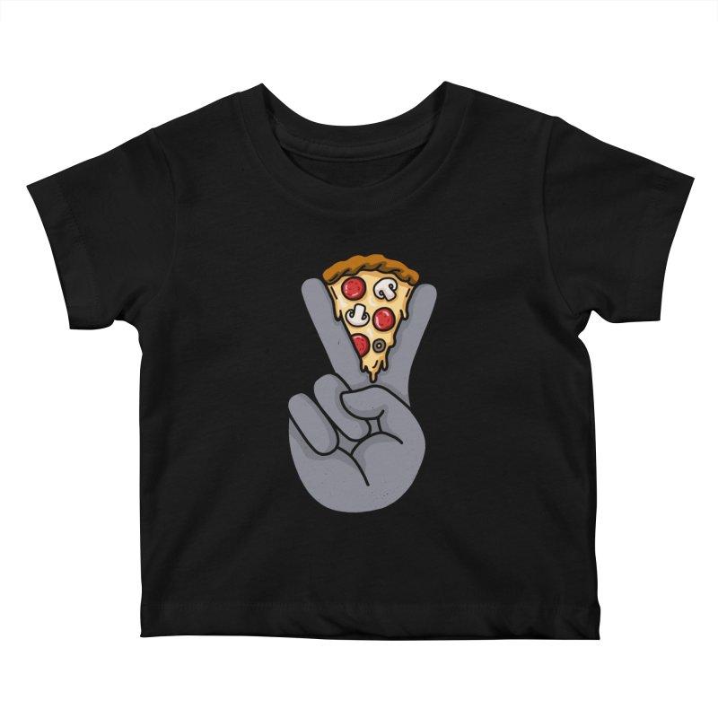 Peace & Pizza Kids Baby T-Shirt by kooky love's Artist Shop