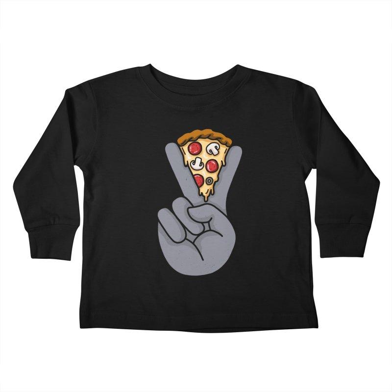 Peace & Pizza Kids Toddler Longsleeve T-Shirt by kooky love's Artist Shop