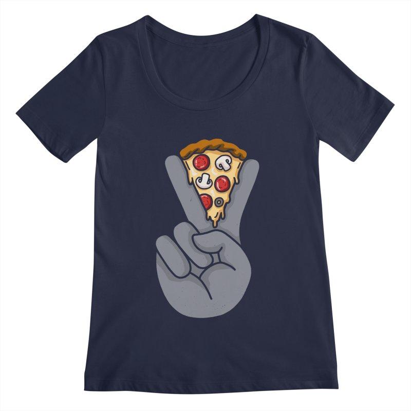 Peace & Pizza Women's Regular Scoop Neck by kooky love's Artist Shop