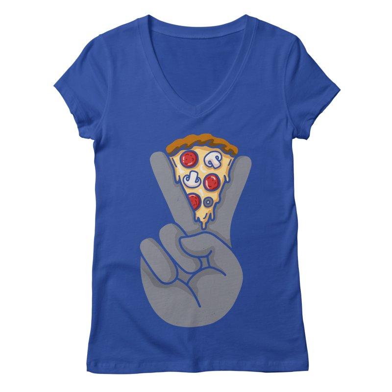 Peace & Pizza Women's Regular V-Neck by kooky love's Artist Shop