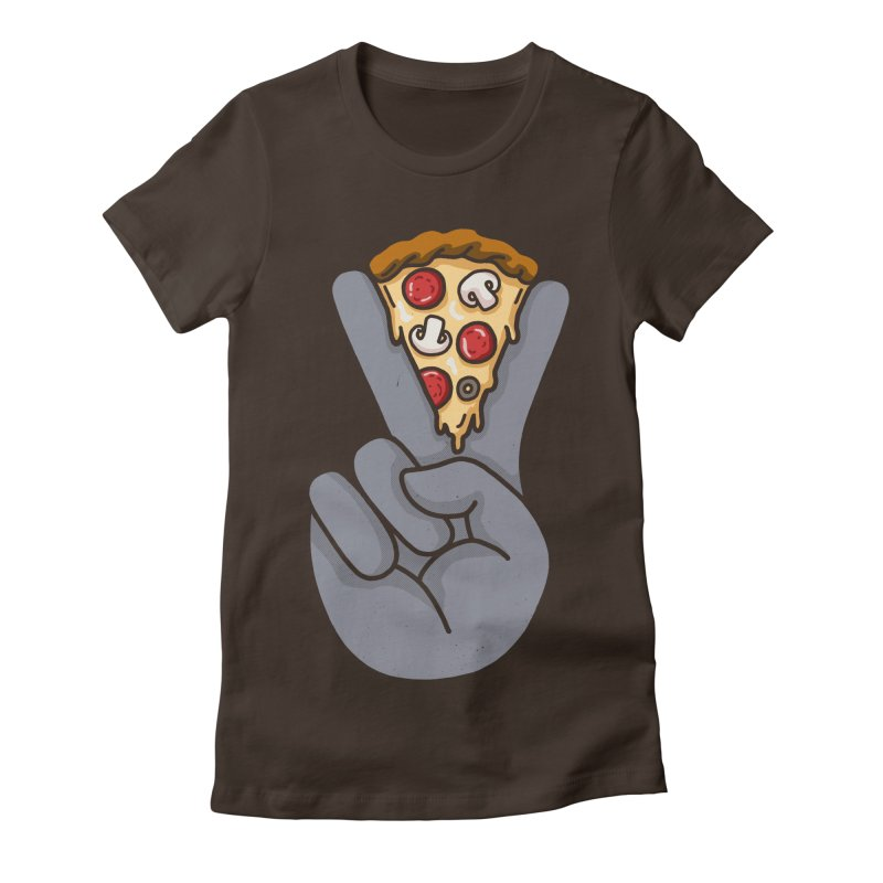 Peace & Pizza Women's Fitted T-Shirt by kooky love's Artist Shop