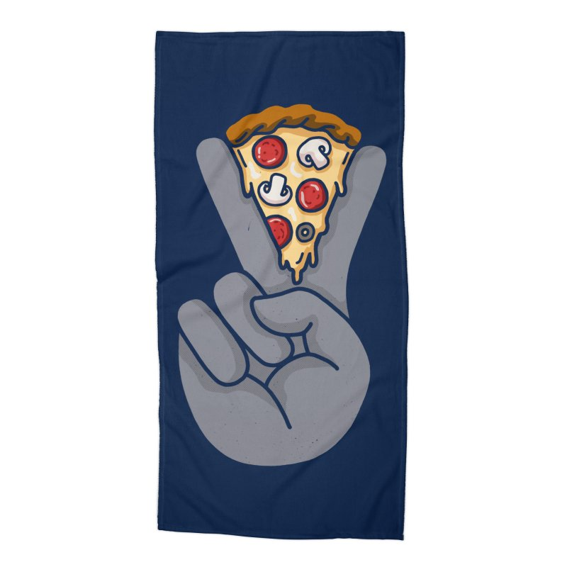 Peace & Pizza Accessories Beach Towel by kooky love's Artist Shop