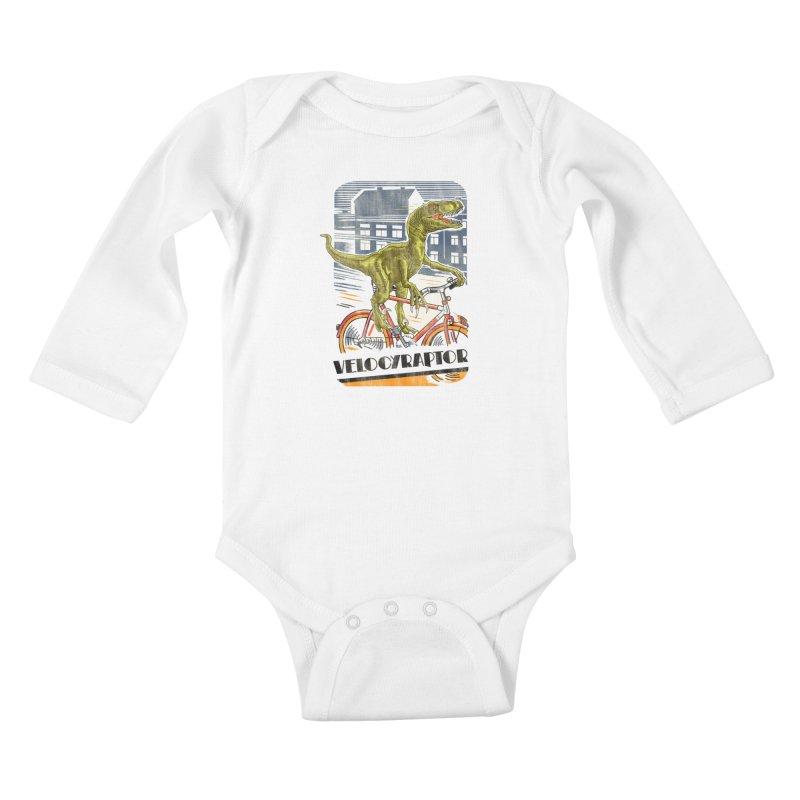 Velocyraptor Kids Baby Longsleeve Bodysuit by kooky love's Artist Shop