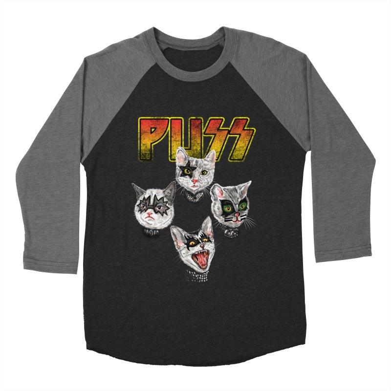 PUSS Men's Baseball Triblend Longsleeve T-Shirt by kooky love's Artist Shop