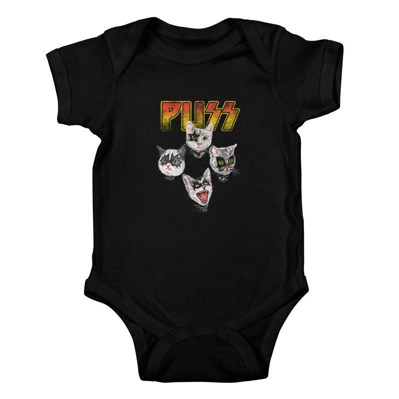 PUSS Kids Baby Bodysuit by kooky love's Artist Shop
