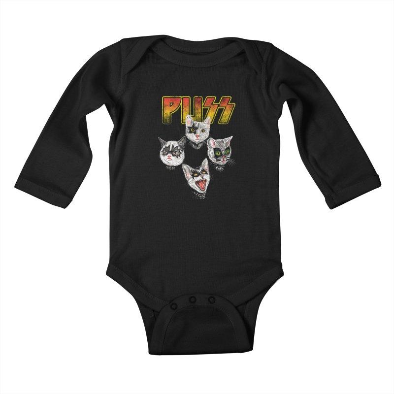 PUSS Kids Baby Longsleeve Bodysuit by kooky love's Artist Shop
