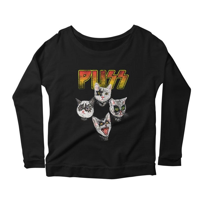 PUSS Women's Scoop Neck Longsleeve T-Shirt by kooky love's Artist Shop