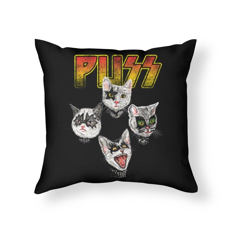 PUSS Home Throw Pillow by kooky love's Artist Shop