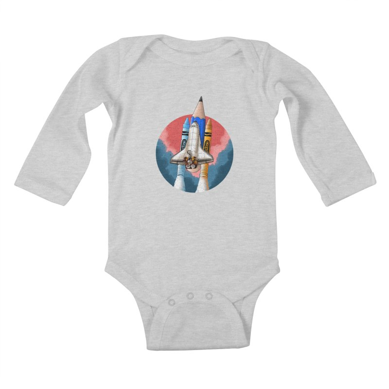 Art Space Kids Baby Longsleeve Bodysuit by kooky love's Artist Shop
