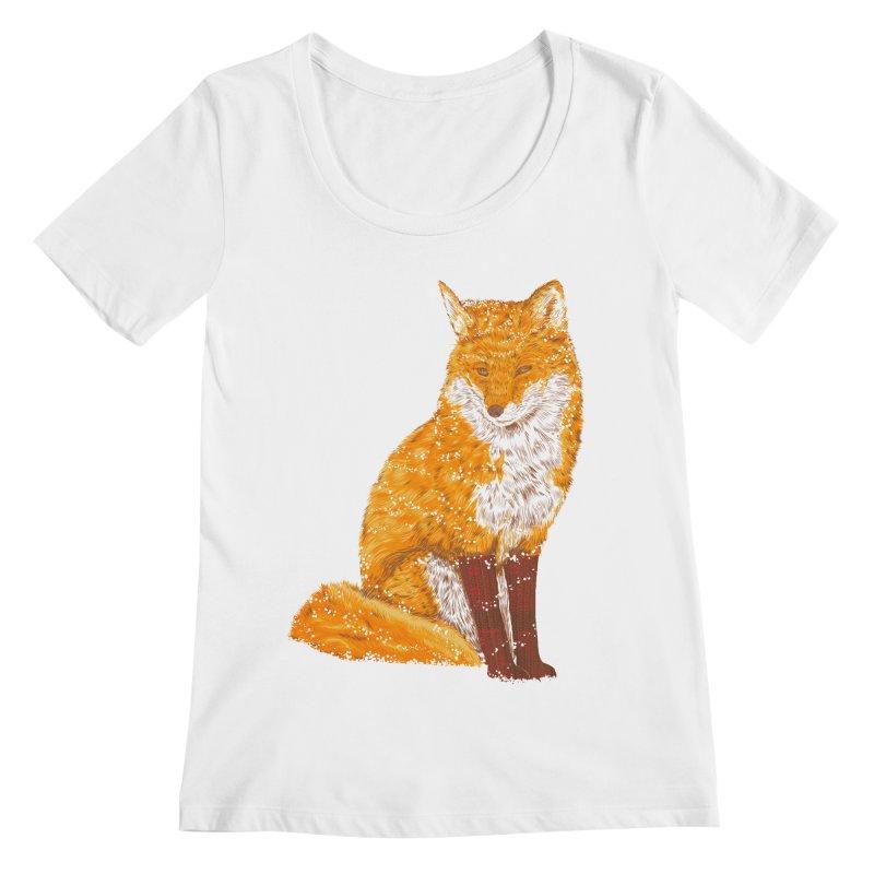 Snow & Fox Ever Women's Regular Scoop Neck by kooky love's Artist Shop