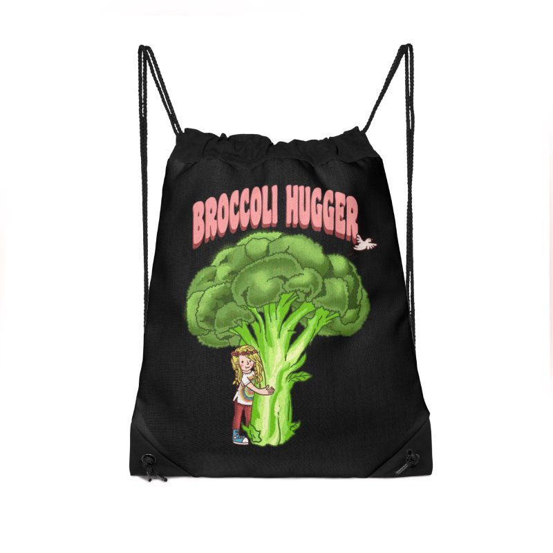 Broccoli Hugger Accessories Drawstring Bag Bag by kooky love's Artist Shop