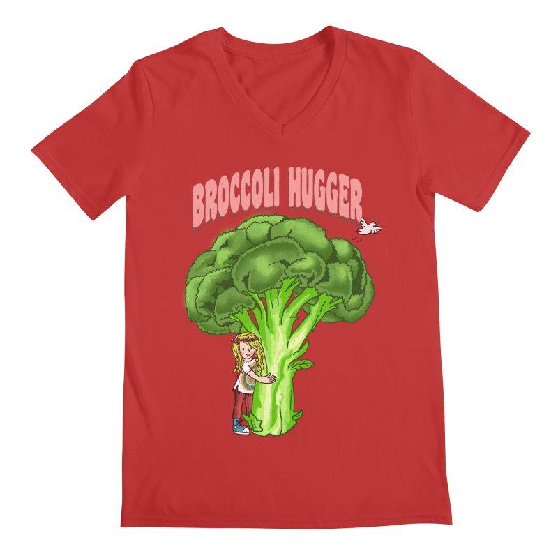 Broccoli Hugger Men's Regular V-Neck by kooky love's Artist Shop