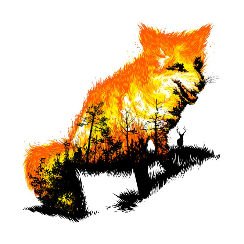 Fire Fox Men's T-Shirt by kooky love's Artist Shop