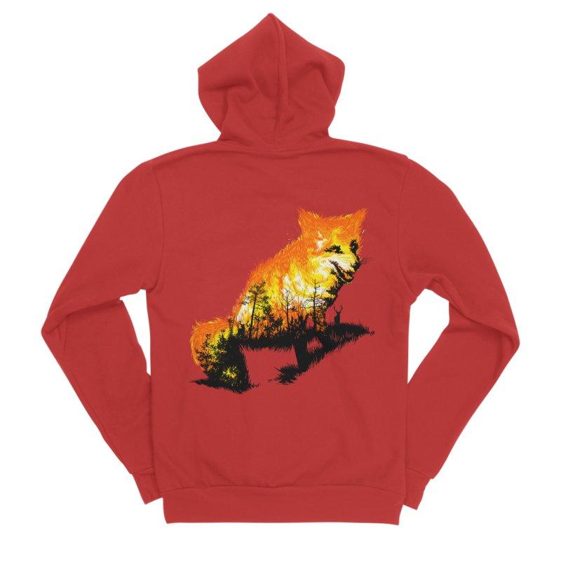 Fire Fox Women's Sponge Fleece Zip-Up Hoody by kooky love's Artist Shop