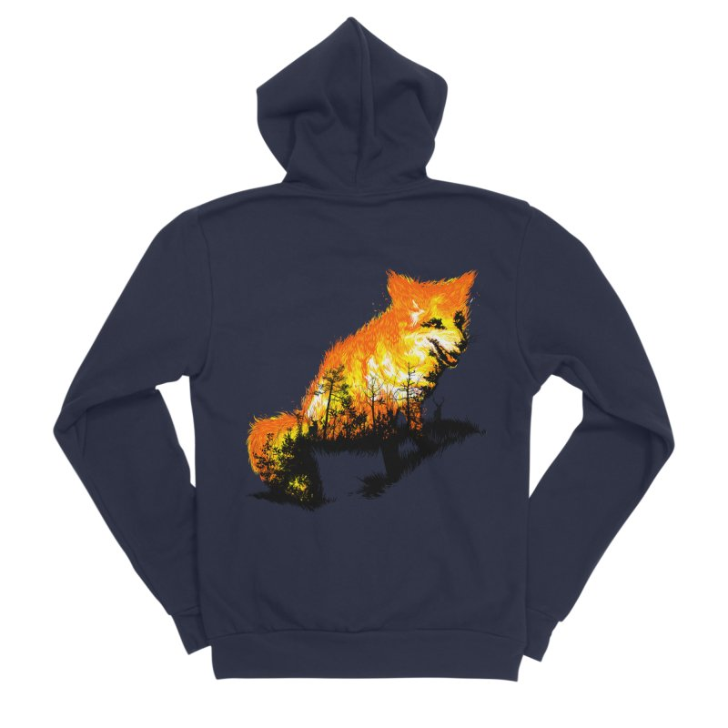 Fire Fox Men's Sponge Fleece Zip-Up Hoody by kooky love's Artist Shop