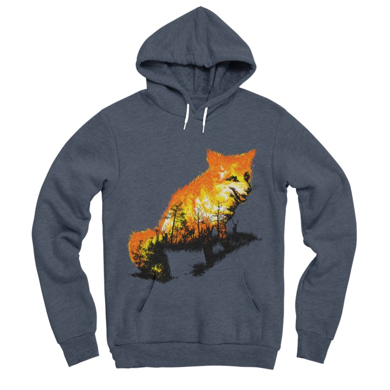 Fire Fox Men's Sponge Fleece Pullover Hoody by kooky love's Artist Shop