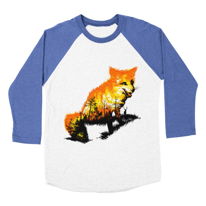 Fire Fox Men's Baseball Triblend Longsleeve T-Shirt by kooky love's Artist Shop