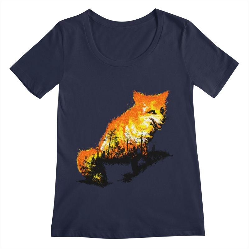 Fire Fox Women's Regular Scoop Neck by kooky love's Artist Shop