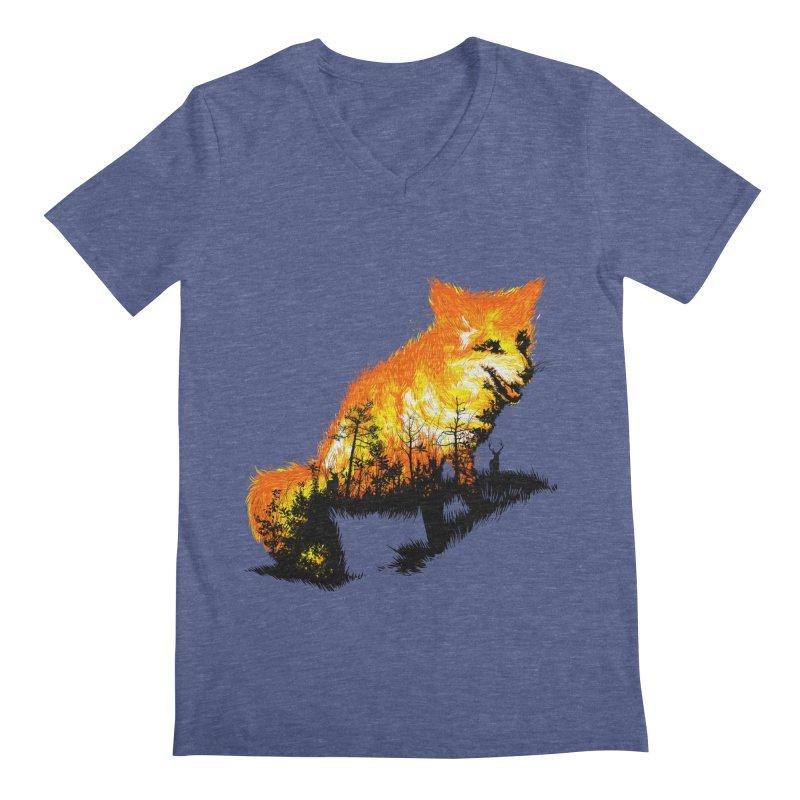Fire Fox Men's Regular V-Neck by kooky love's Artist Shop