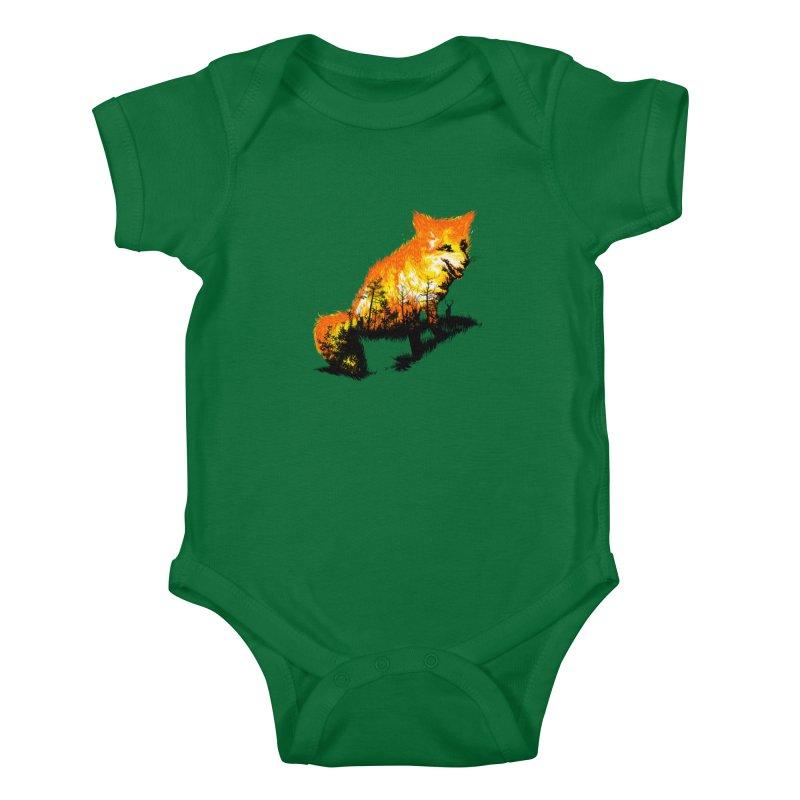 Fire Fox Kids Baby Bodysuit by kooky love's Artist Shop