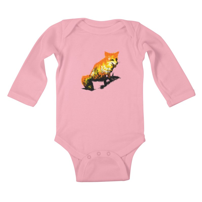 Fire Fox Kids Baby Longsleeve Bodysuit by kooky love's Artist Shop