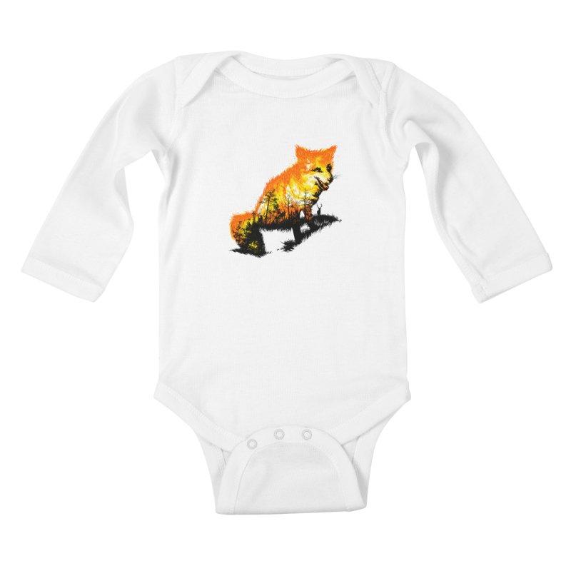 Fire Fox Kids Baby Longsleeve Bodysuit by kooky love's Artist Shop