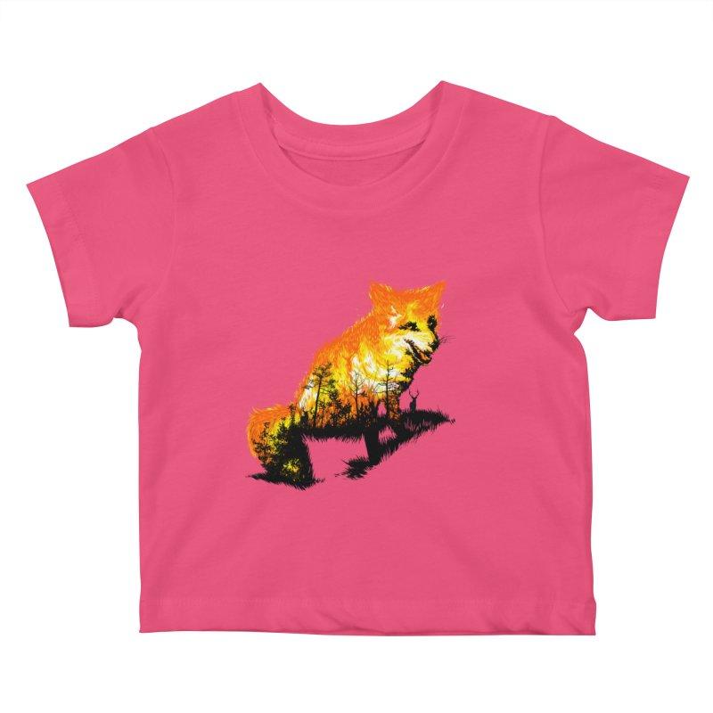 Fire Fox Kids Baby T-Shirt by kooky love's Artist Shop