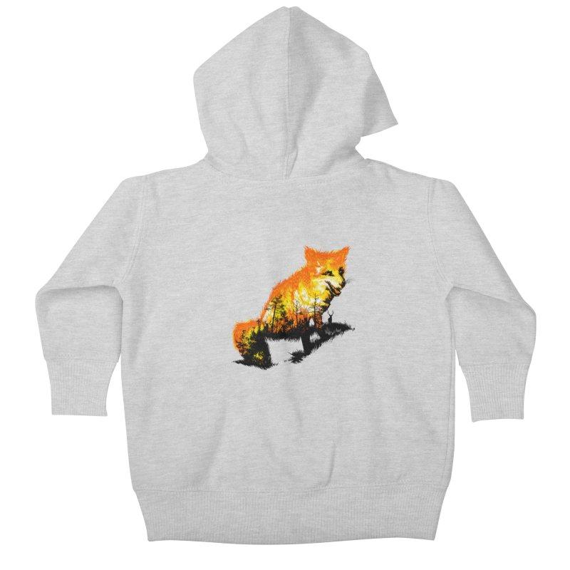 Fire Fox Kids Baby Zip-Up Hoody by kooky love's Artist Shop