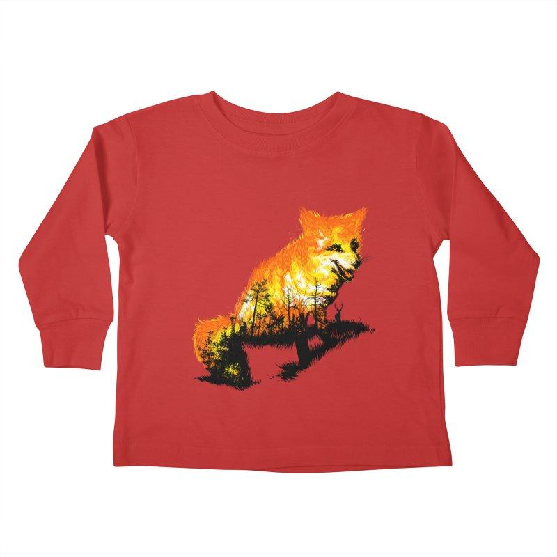 Fire Fox Kids Toddler Longsleeve T-Shirt by kooky love's Artist Shop