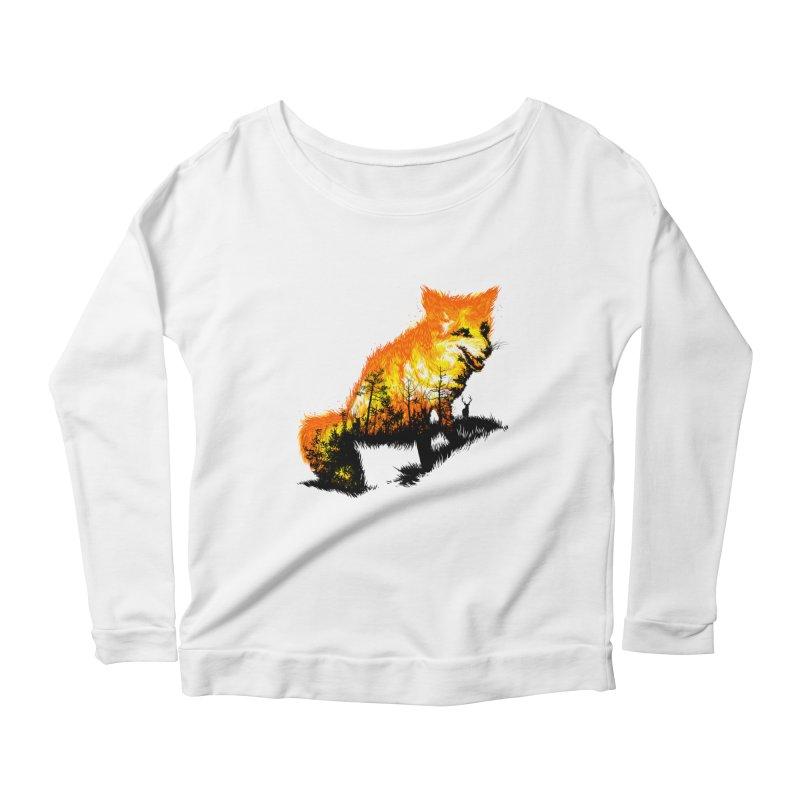 Fire Fox Women's Scoop Neck Longsleeve T-Shirt by kooky love's Artist Shop