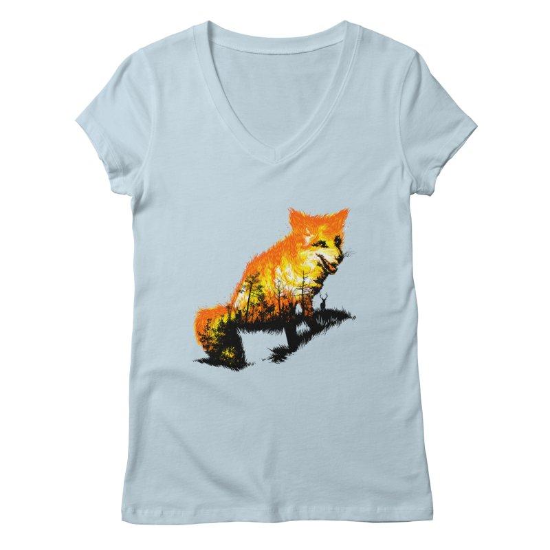 Fire Fox Women's V-Neck by kooky love's Artist Shop