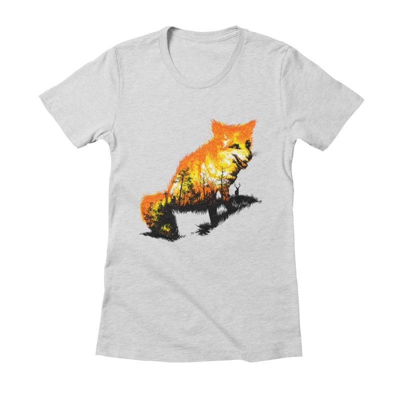 Fire Fox Women's Fitted T-Shirt by kooky love's Artist Shop