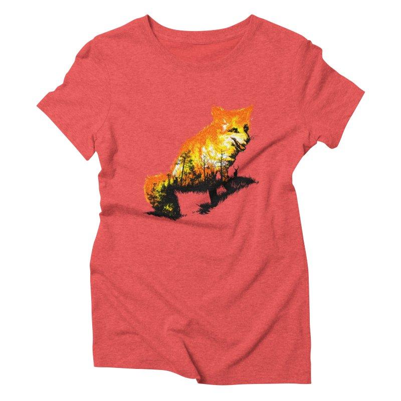Fire Fox Women's Triblend T-Shirt by kooky love's Artist Shop