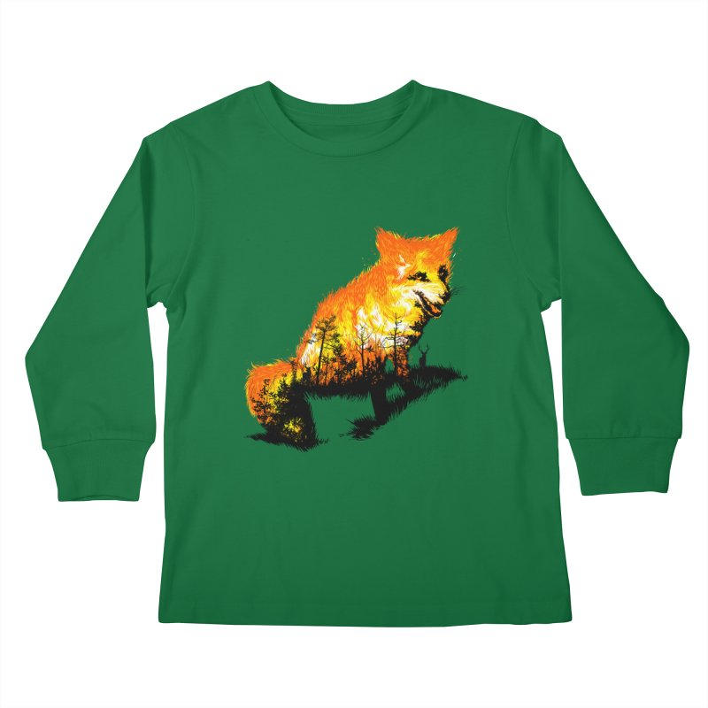 Fire Fox Kids Longsleeve T-Shirt by kooky love's Artist Shop
