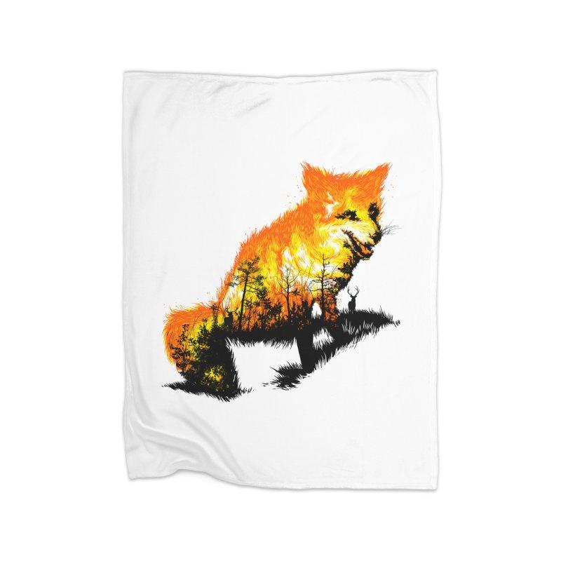 Fire Fox Home Fleece Blanket Blanket by kooky love's Artist Shop