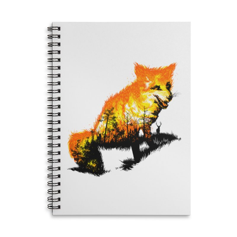 Fire Fox Accessories Lined Spiral Notebook by kooky love's Artist Shop