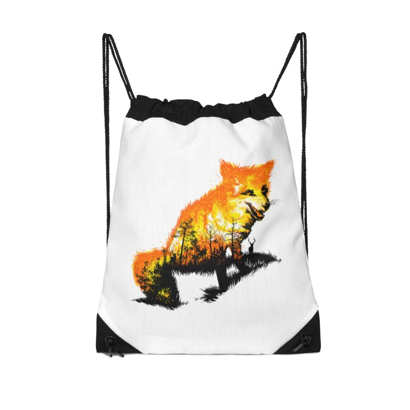 Fire Fox Accessories Drawstring Bag Bag by kooky love's Artist Shop
