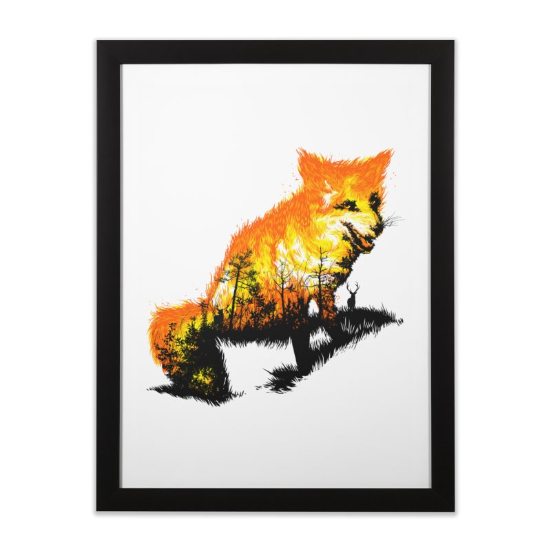 Fire Fox Home Framed Fine Art Print by kooky love's Artist Shop