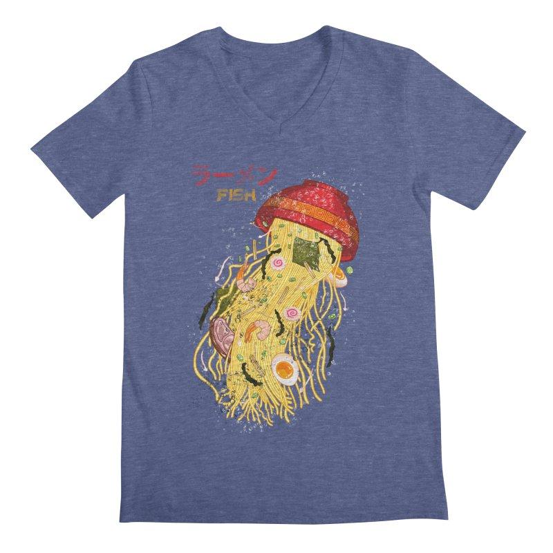 Ramen Fish Men's Regular V-Neck by kooky love's Artist Shop