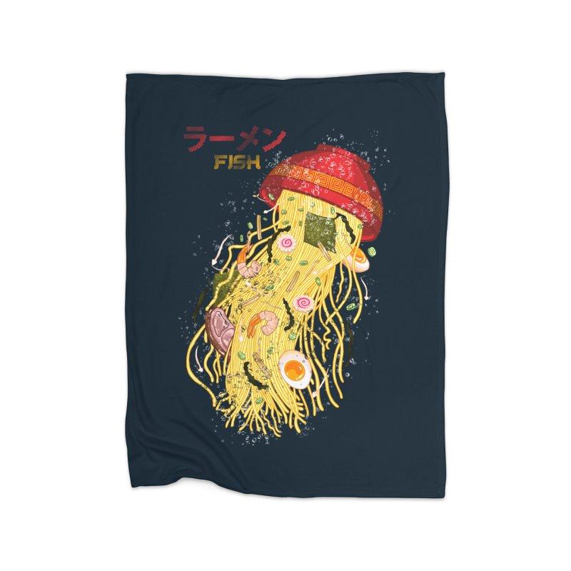 Ramen Fish Home Fleece Blanket Blanket by kooky love's Artist Shop