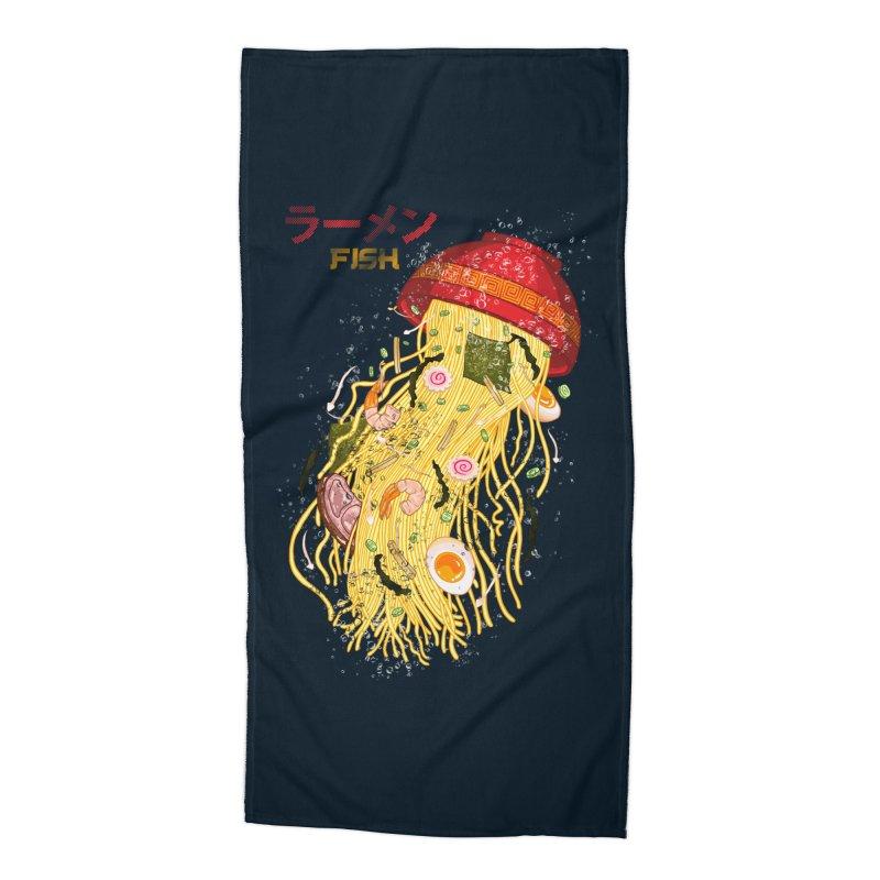 Ramen Fish Accessories Beach Towel by kooky love's Artist Shop
